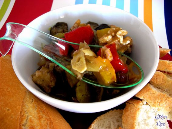 Roast Aubergine with Red Pepper Salad